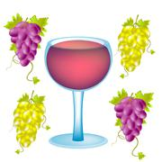 Grape and goblet blame Stock Illustration