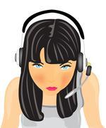 girl in earphone - stock illustration