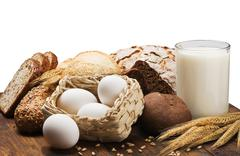 Milk, egg and wheat flour for bread Stock Photos