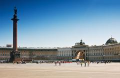 Winter palace square in st. petersburg Stock Photos