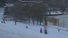 Winter.Kids winter sledding hill. Stock Footage