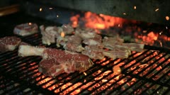 Lamb chops on grill Stock Footage