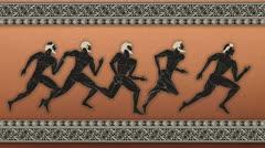 Greek figure - sportsmen Stock Footage