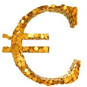 euro stability. symbol assembled with coins - stock illustration