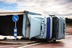 overturned lorry - stock photo