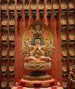 Stock Photo of buddhist statues in a temple