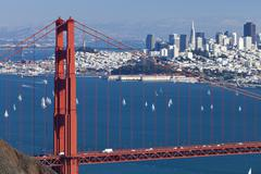 san francisco panorama w the golden gate bridge - stock photo