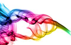 abstract colorful puff of smoke on white - stock illustration