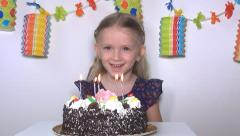 Child Singing Happy Birthday then Blowing Candles, Girl at her Party, Children Stock Footage