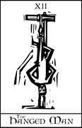 Tarot card hanged man Stock Illustration
