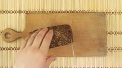 Rye-bread cutting Stock Footage