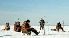 Winter fishing of fish, competitions Stock Footage