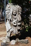 Indian Chief Wood Statue - stock photo