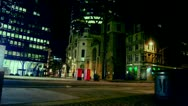 Night street in London, view to the Gherkin Stock Footage