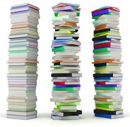 Education and wisdom. tall heaps of hardcovered books Stock Illustration