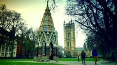 London, view to the Buxton memorial  fountain and Victoria tower Stock Footage