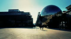 Sphere Sculpture at Millennium Square, Bristol - Golden Sunlight HD Stock Footage