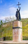 king pelayo (christian king of asturias) in covadonga sanctuary, asturias, sp - stock photo