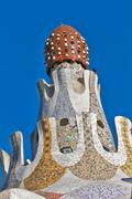 Detail of the main entrance building at parc guell, Stock Photos