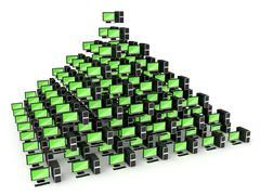 Pyramid pc network concept Stock Illustration