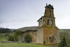 abandoned romanesque church - stock photo
