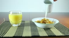 Strawberry, Cereal and Orange Juice Stock Footage