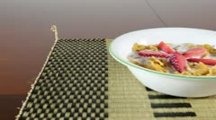 Strawberry and Cereal Stock Footage