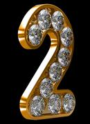 Golden 2 numeral incrusted with diamonds Stock Illustration