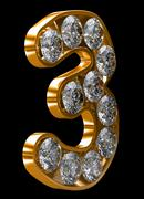 Golden 3 numeral incrusted with diamonds Stock Illustration