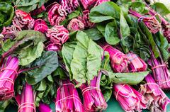 Red swiss chard at the market Stock Photos