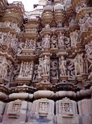 khajuraho Temple wall carving : A UNESCO world heritage site - stock photo