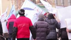 Unemployment Protest 3 - stock footage