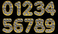 Golden 0 - 9 numerals incrusted with diamonds Stock Illustration