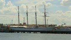 Sailing ship - spanish four masted schooner  - Juan Sebastian de Elcano Stock Footage