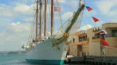 Sailing ship - spanish four masted schooner - Juan Sebastian de Elcano 2 Stock Footage