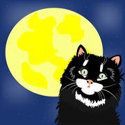 Musta kissa ja kuu Piirros