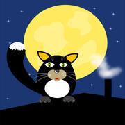Musta kissa katolla Piirros