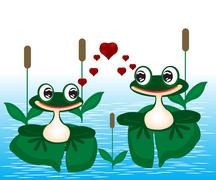 Two frogs on marsh Stock Illustration