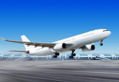 Lentää pois plane lentokentältä Kuvituskuvat