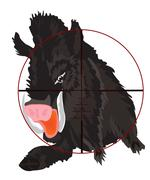 wild wild boar in optical sight - stock illustration