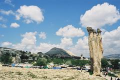 Pilars in Cappadocia in Turkey - stock photo