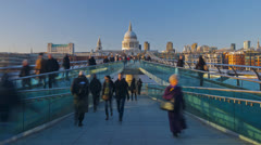 London, Millennium Bridge and St. Paul's Cathedral - TIME LAPSE Stock Footage