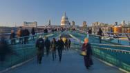 Stock Video Footage of London, Millennium Bridge and St. Paul's Cathedral - TIME LAPSE