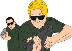 Men With Guns - stock illustration