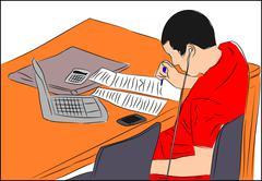 Student Studying - stock illustration