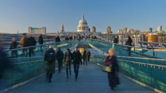 London, Millennium Bridge and St. Paul's Cathedral - TIME LAPSE - ZOOMING IN Stock Footage