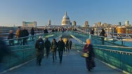 Stock Video Footage of London, Millennium Bridge and St. Paul's Cathedral - TIME LAPSE - ZOOMING IN