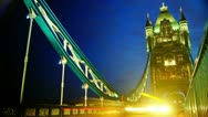 Rush hour in London, view to the Tower Bridge night Stock Footage