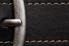 closeup of clasp belt detail - stock photo
