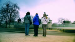 Rush hour in London, view to the Wellington Arch Stock Footage